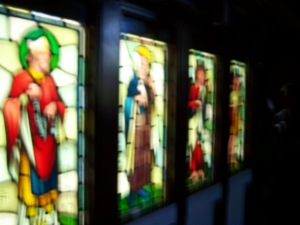 These are some of the glass panels that were to line the chapel walls. The hourde which was to contain he chapel was abandoned