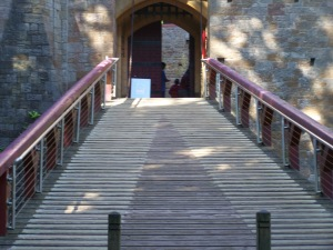 The entrance to Castle Mantovar (although it's really Castell Coch)