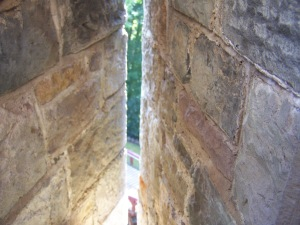 A view through an arrow slit in Castle Mantovar (Castell Coch)